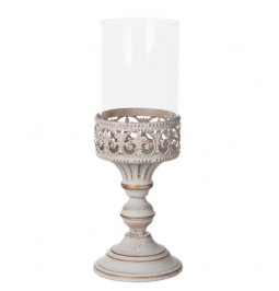 Candle holder metal and glass