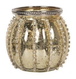 Porta tealight glass, gold,...