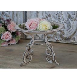 Centro tavola con piedi stile francese crema antichizzato d.32 h 23 Chic Antique