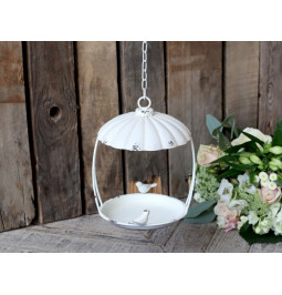 Cage to hang with birds metal cream antique cm H24 D17 Chic Antique