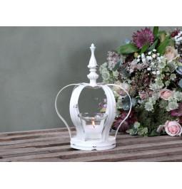 Porta tea light a corona con piedistallo crema anticato H26 L14 W12.5 Chic Antique