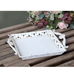 Metal tray with handles and...