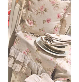 Runner in natural color with flowers cm 150*50 cotton Disraeli Home Decor