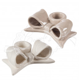 Candle holder bow ceramic dove cm 9*6,5*3,5 home pampering