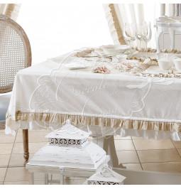 Tovaglia linea 'Frill' cotone bianco con balza tortora cm 140*220 Coccole di Casa