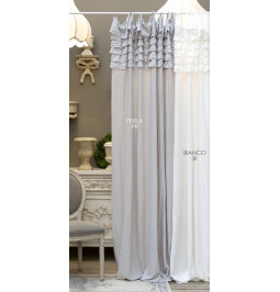 Curtain 'Eterna' white microfiber with gale CM 150*290 Blanc Mariclò