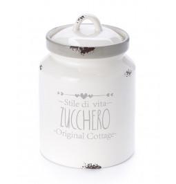 Set 3 barattoli SALE ZUCCHERO CAFFE' ceramica shabby cm 11,5*11,5*h17,5 Nuvole di Stoffa