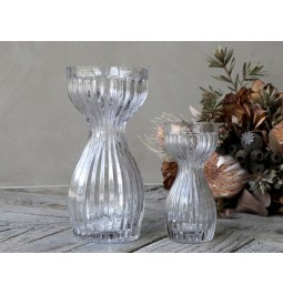 Glass vase with grooves...